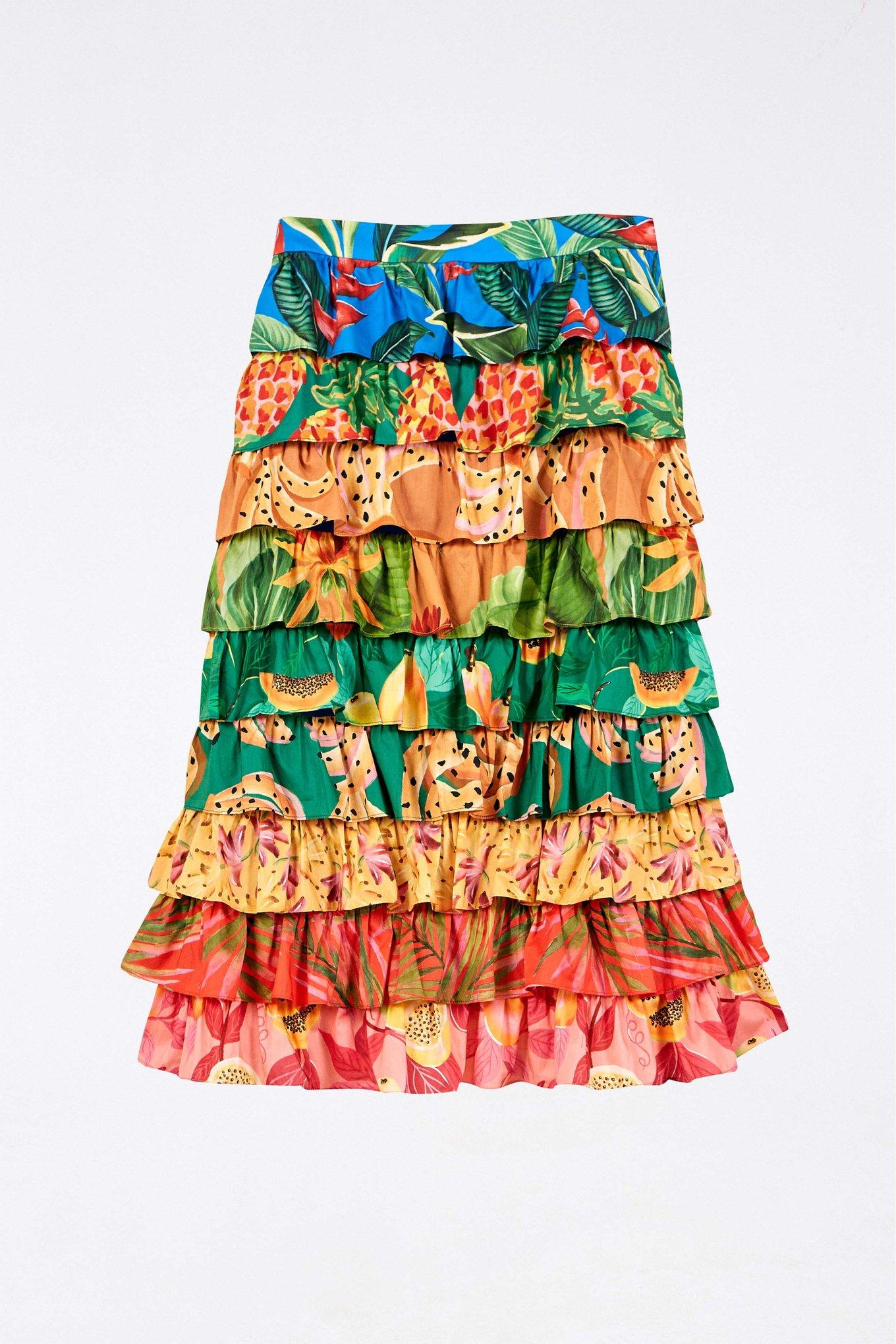 Mixed Prints Multi Layered Midi Skirt $195