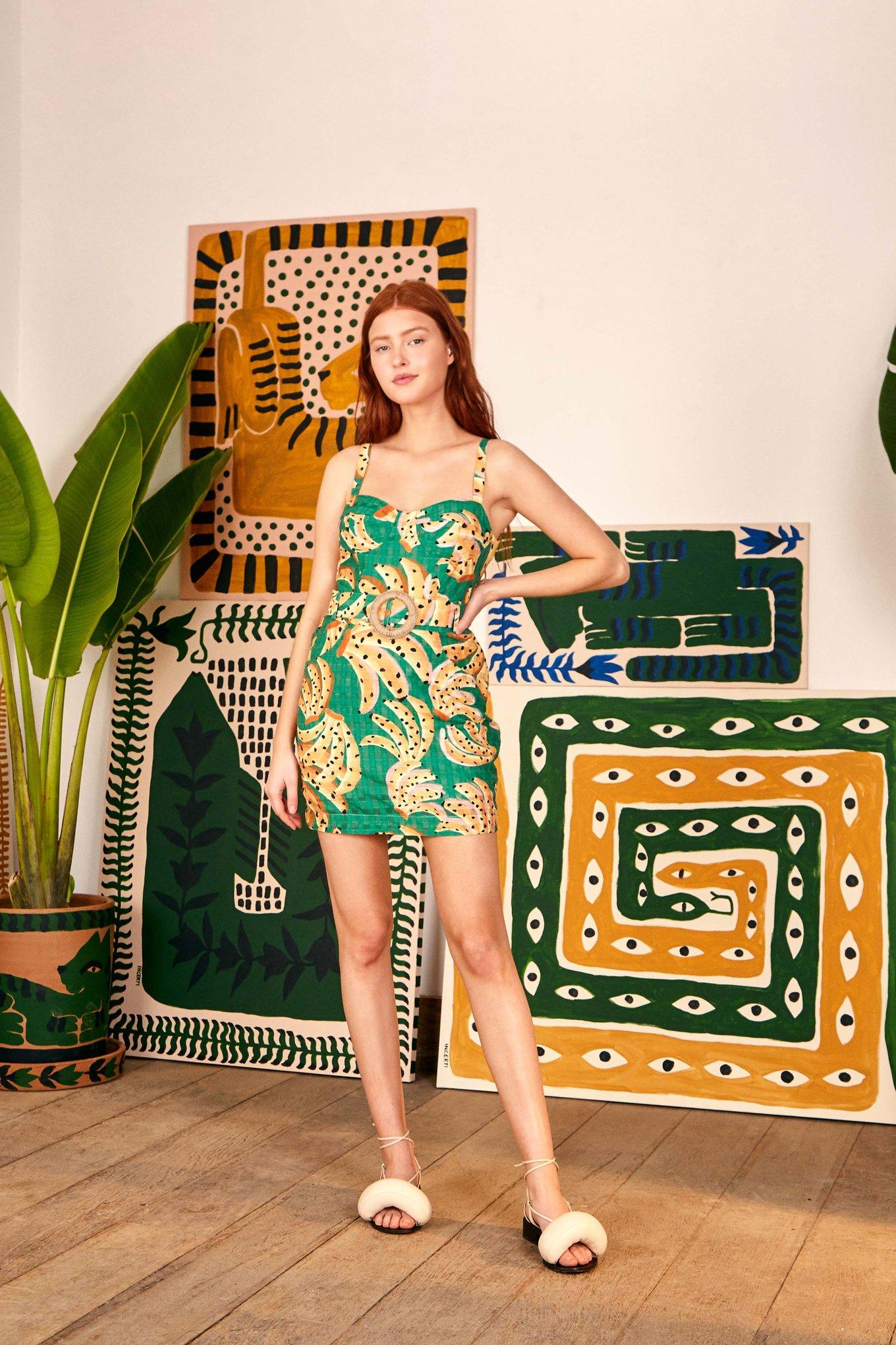 Green Raining Bananas Mini Dress $165