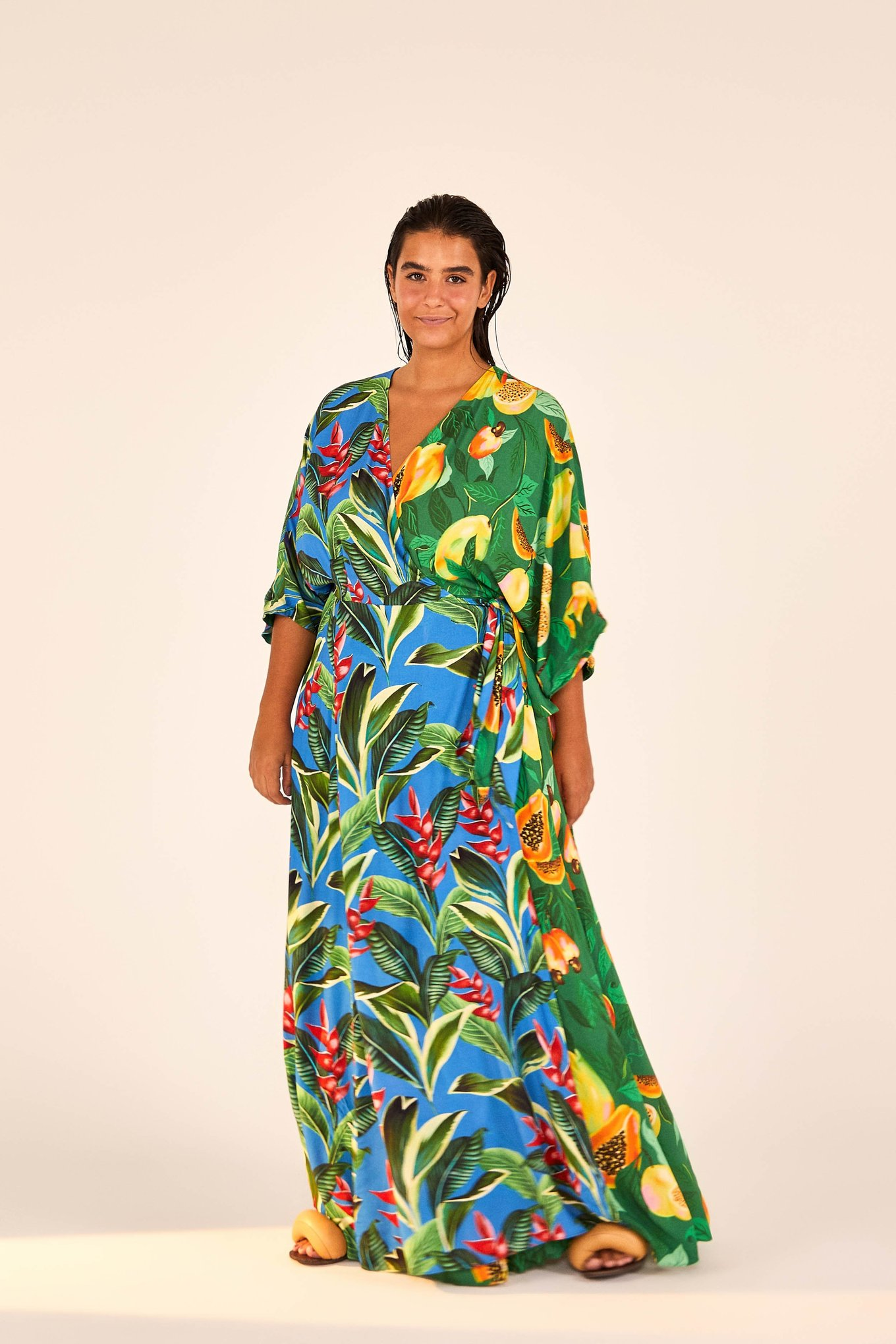 Dual Prints Papaya Dream Maxi Wrap Dress $225