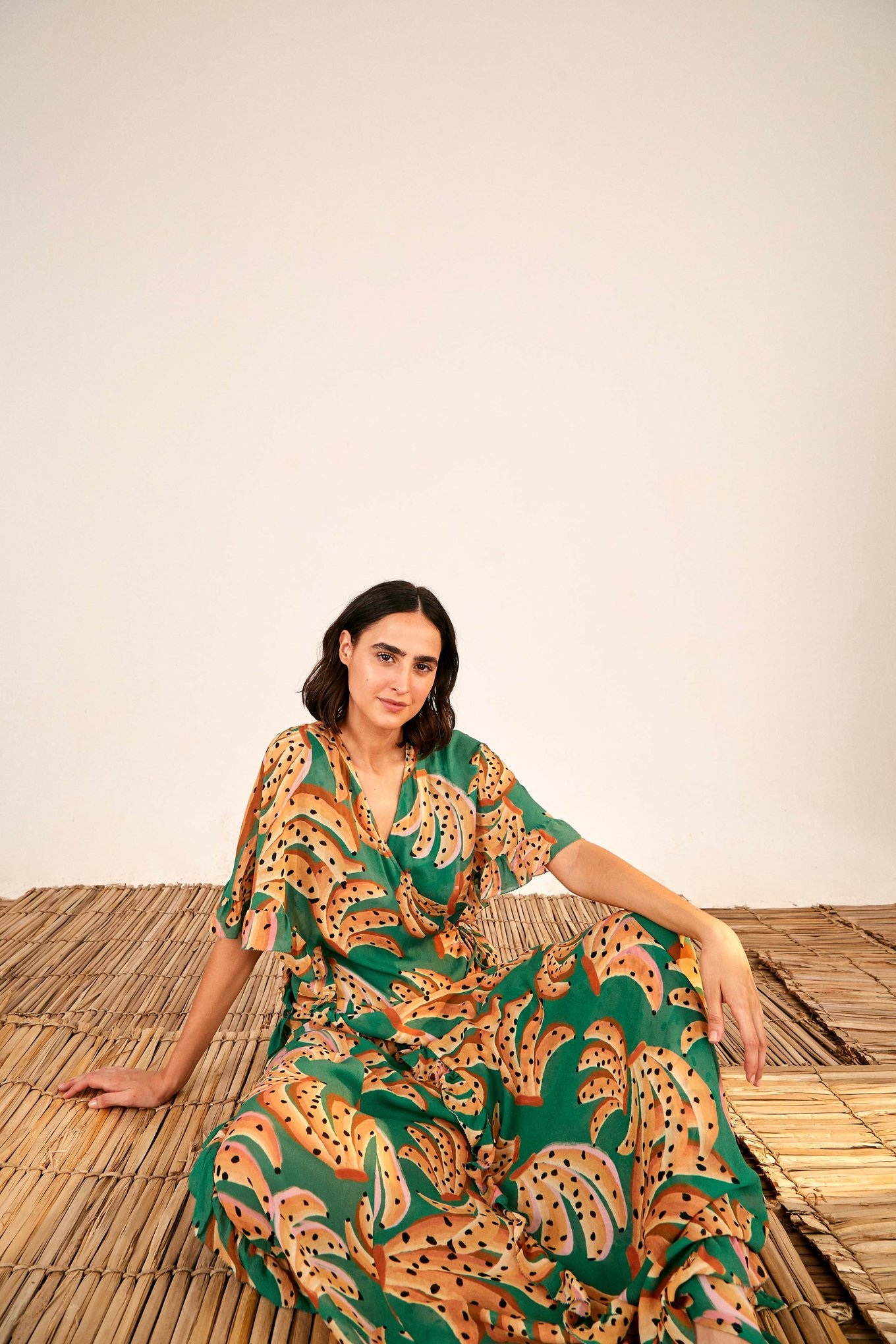 Green Raining Bananas Maxi Wrap Dress $275
