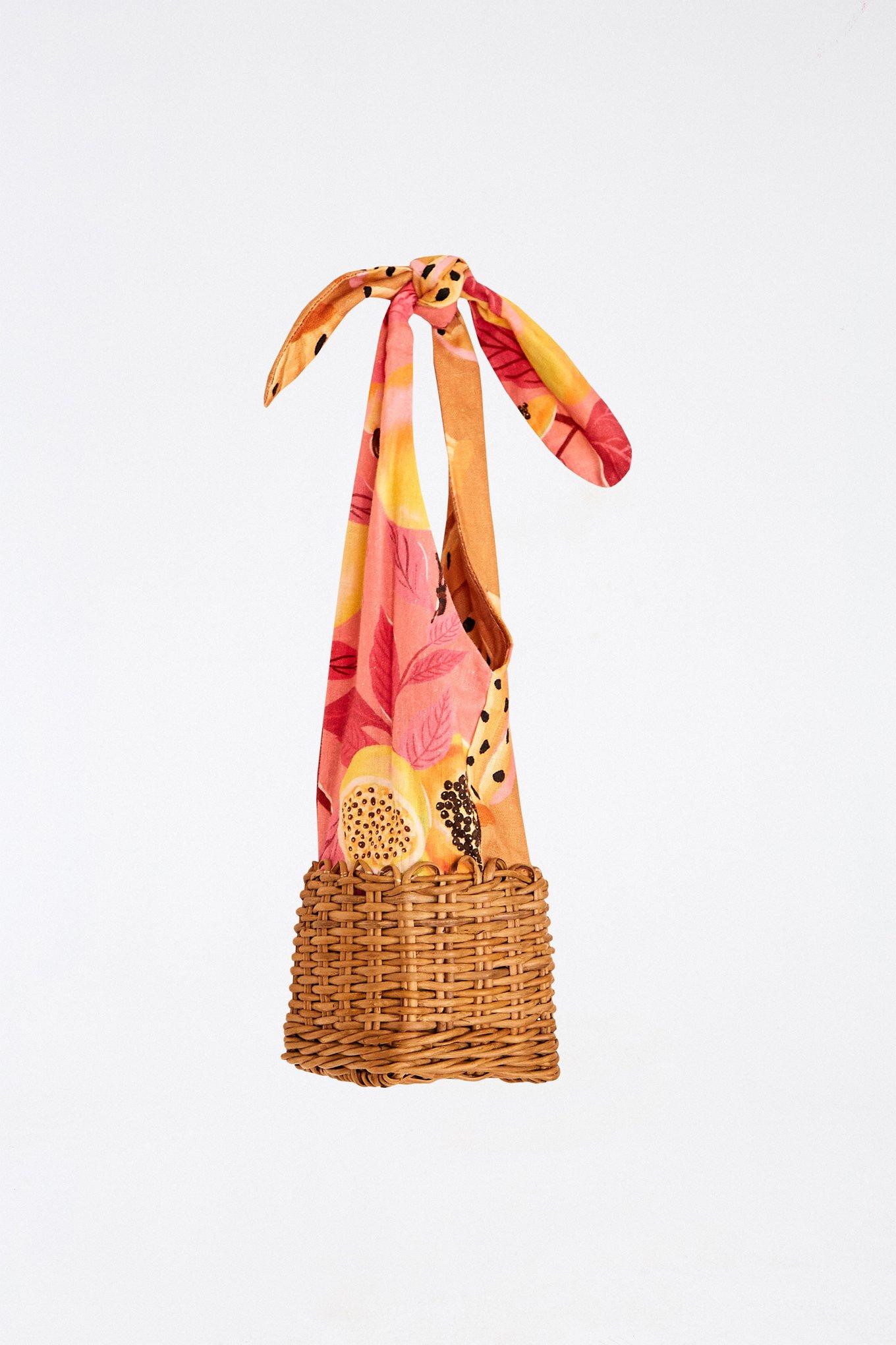 Mixed Prints Straw Mini Bagag $110