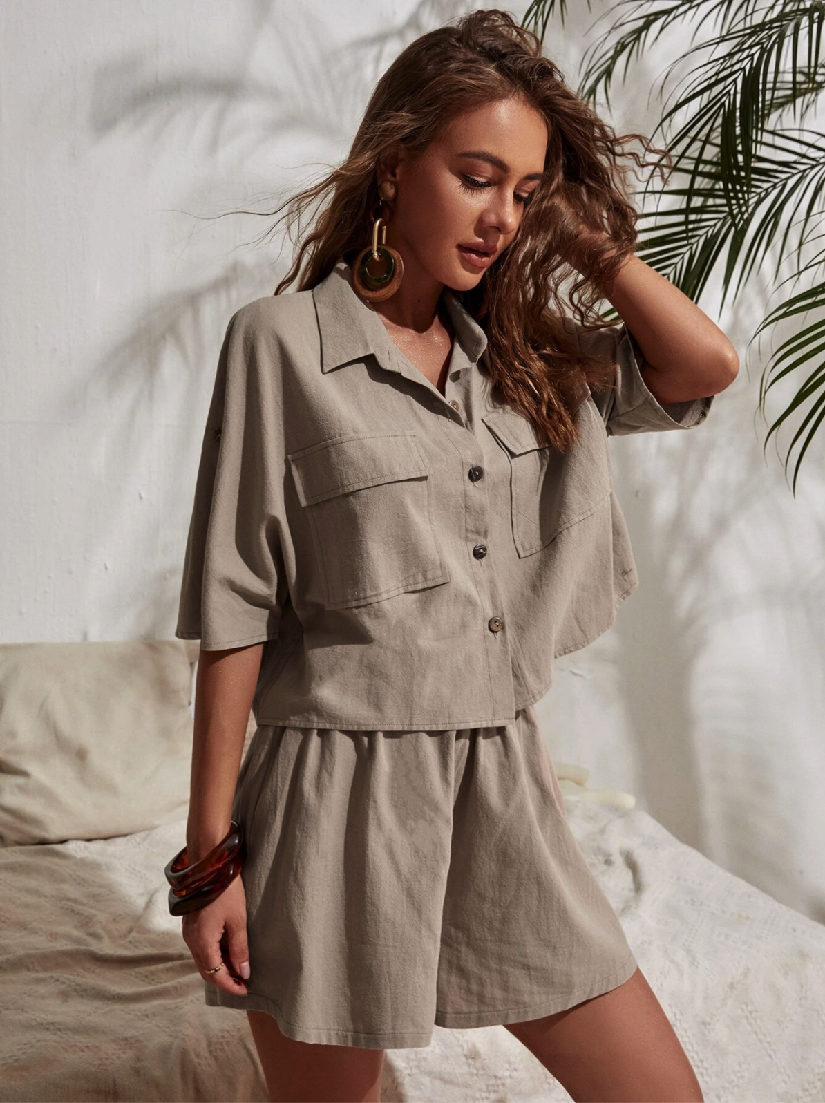 Button Through Blouse With Shorts $21.00