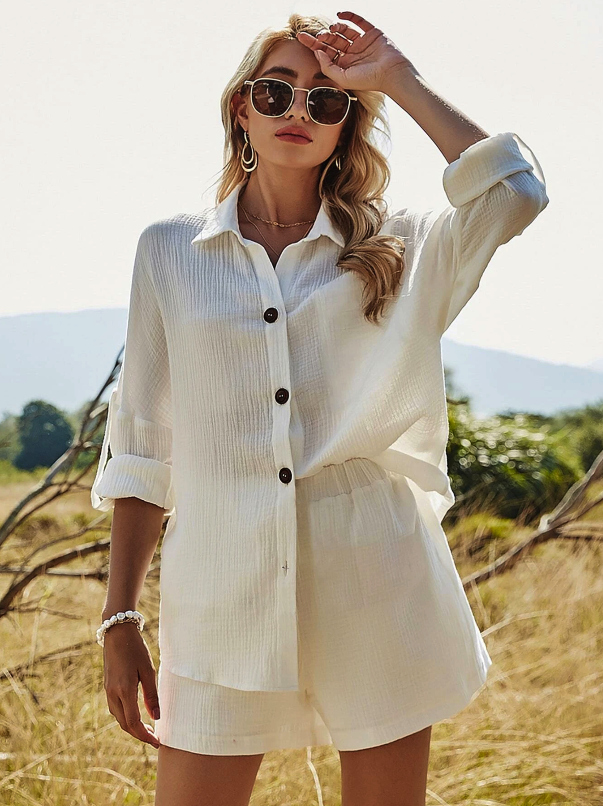 Button Front Roll Up Sleeve Blouse With Shorts $23.00