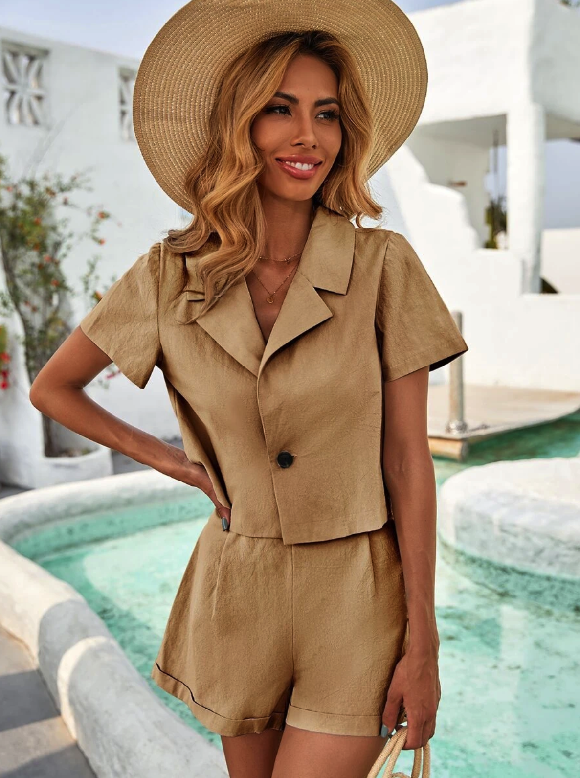 Solid Single Button Blouse & Shorts $20.00