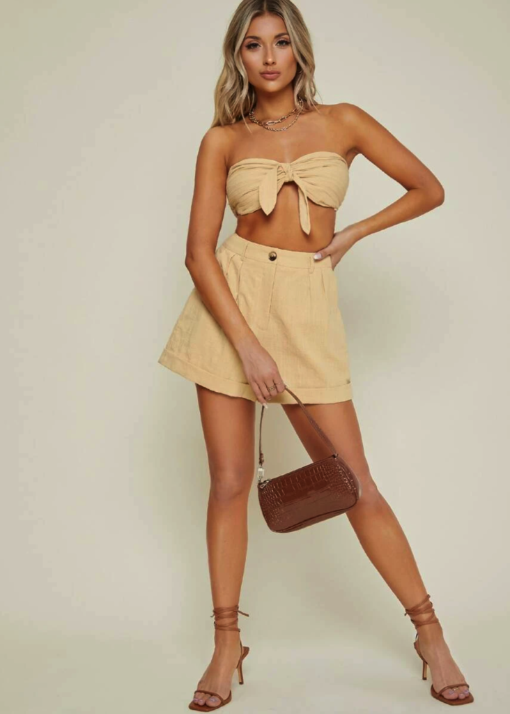 Knot Front Pleated Tube Top & Wide Leg Shorts Set $22.00