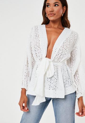white broderie plunge flip hem blouse $38.00