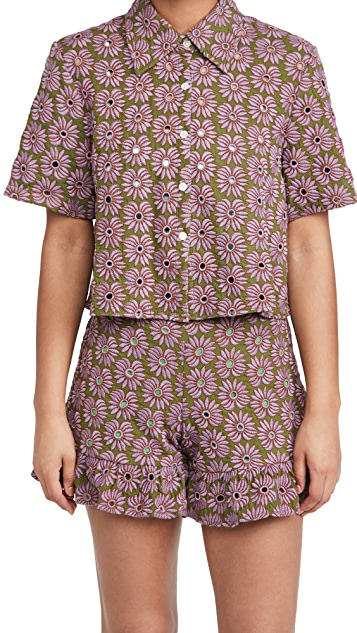 AbacaxiCrop Button Down Top $265.00