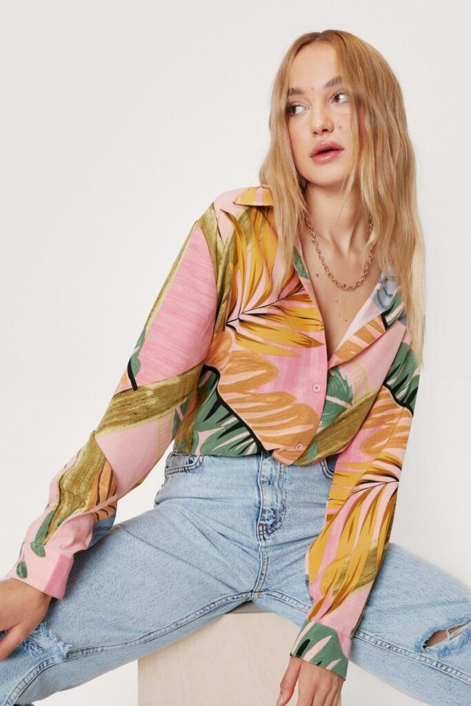 Palm Print Long Sleeve Button Down Shirt $25.50