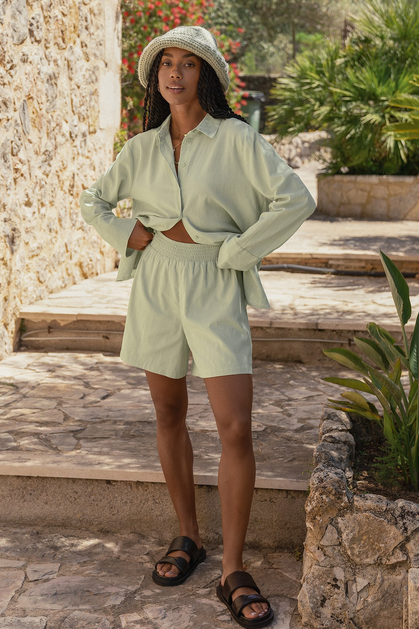 Linen Look Oversized Shorts $29.95