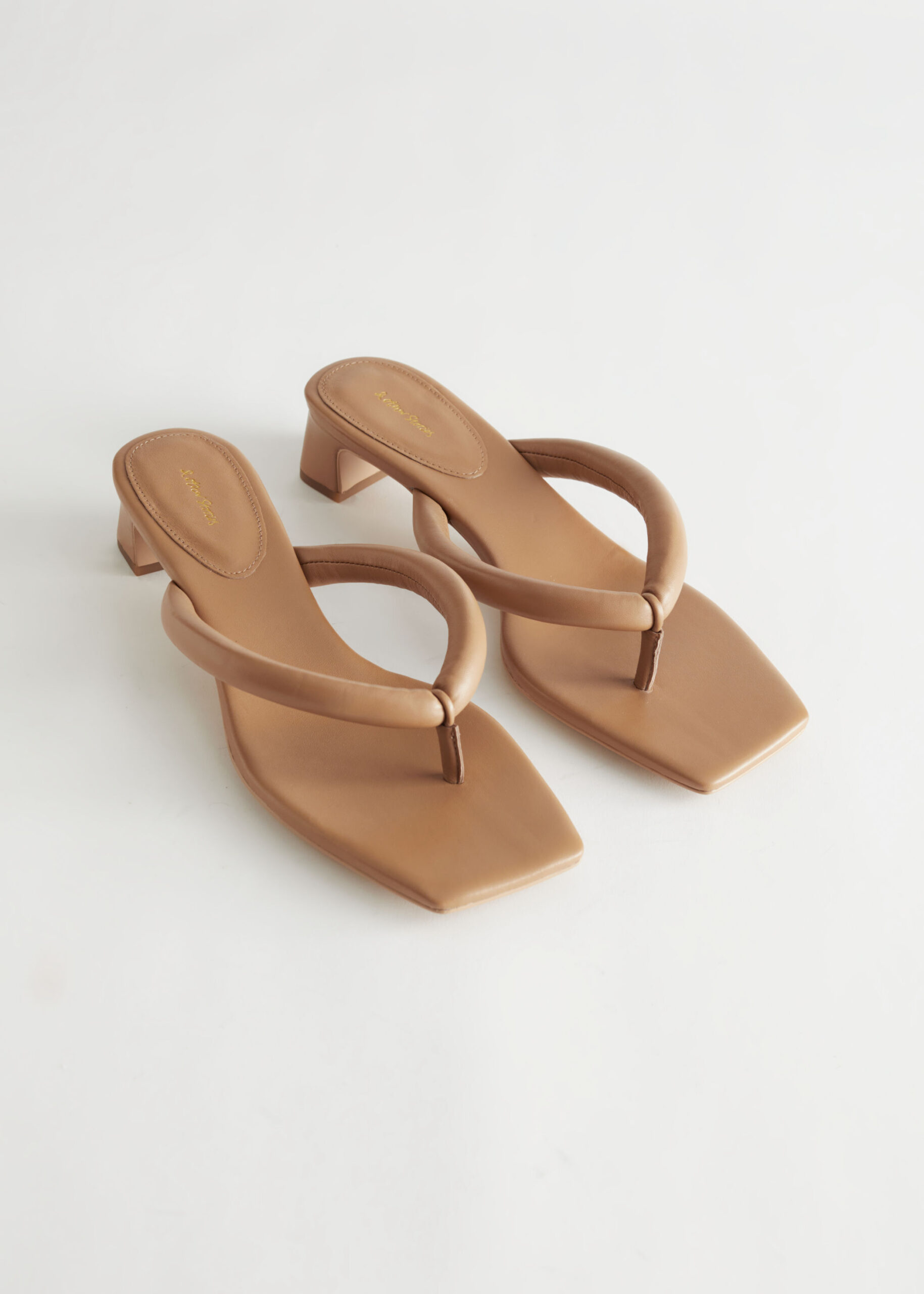 Thong Strap Heeled Leather Sandals $89.99