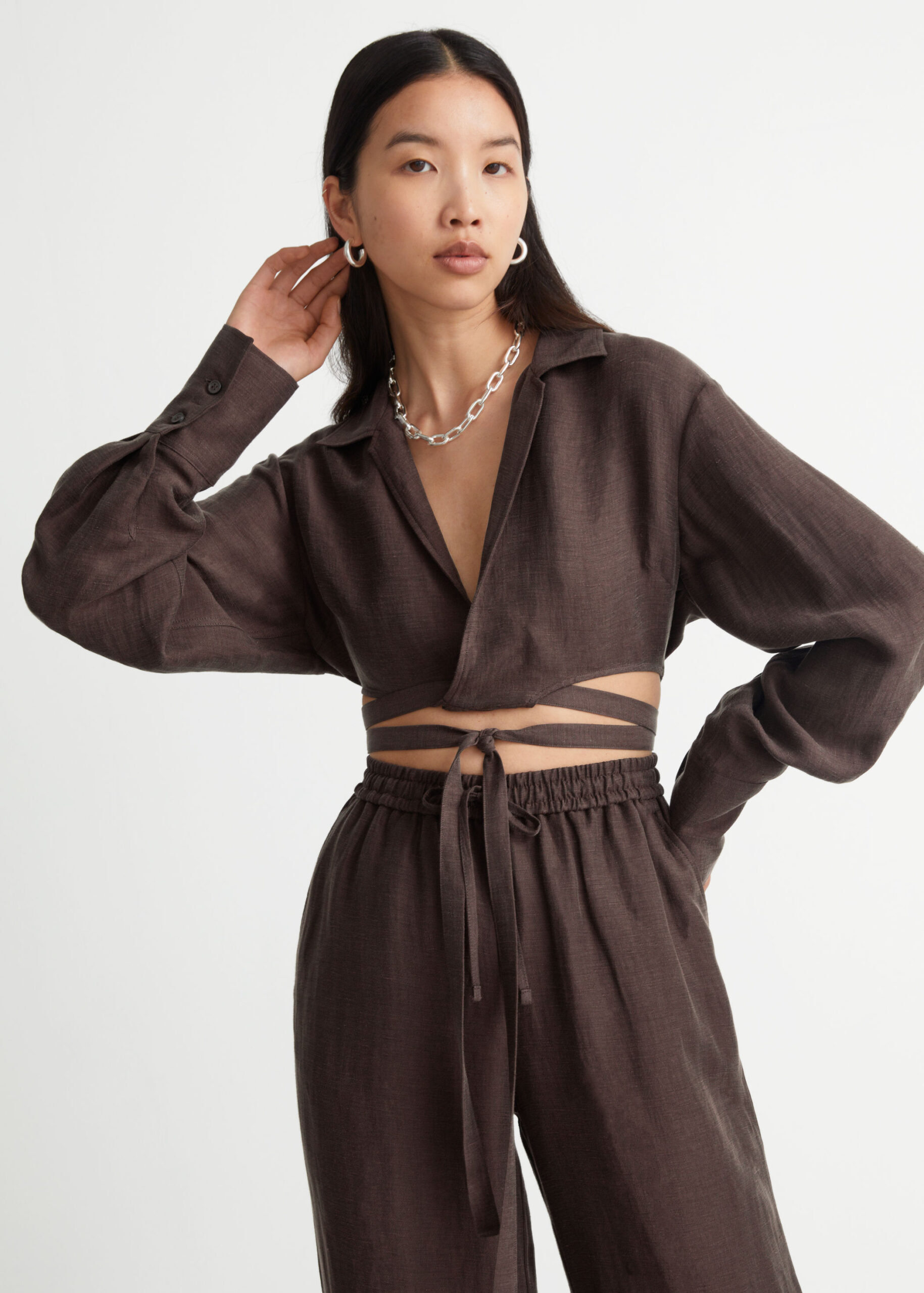 Cropped Criss Cross Tie Blouse $89