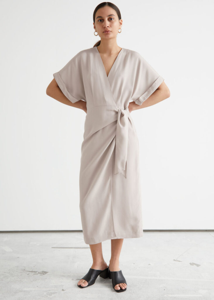 Fold-Up Sleeve Midi Wrap Dress $119