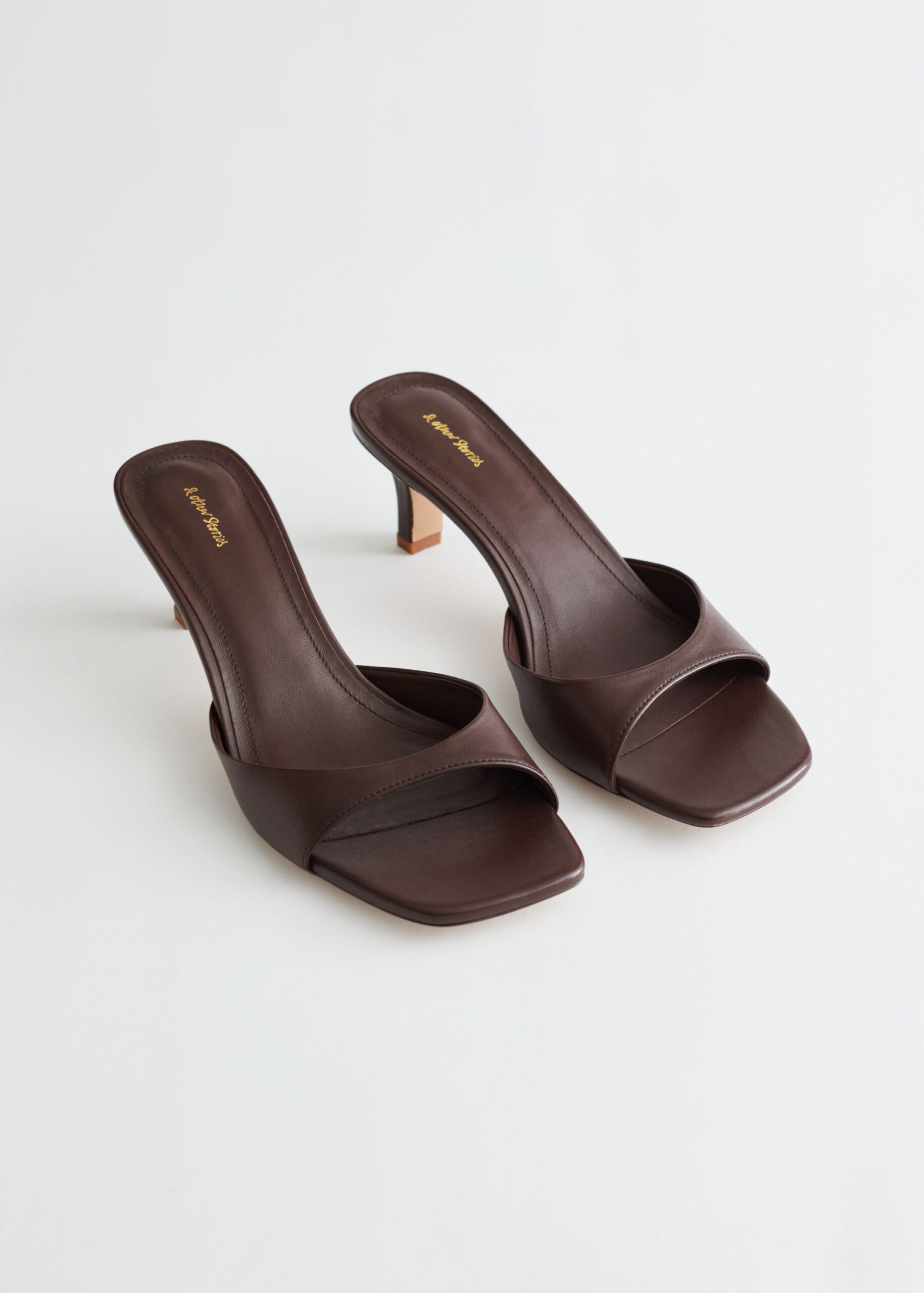 Flared Heel Leather Mules $129