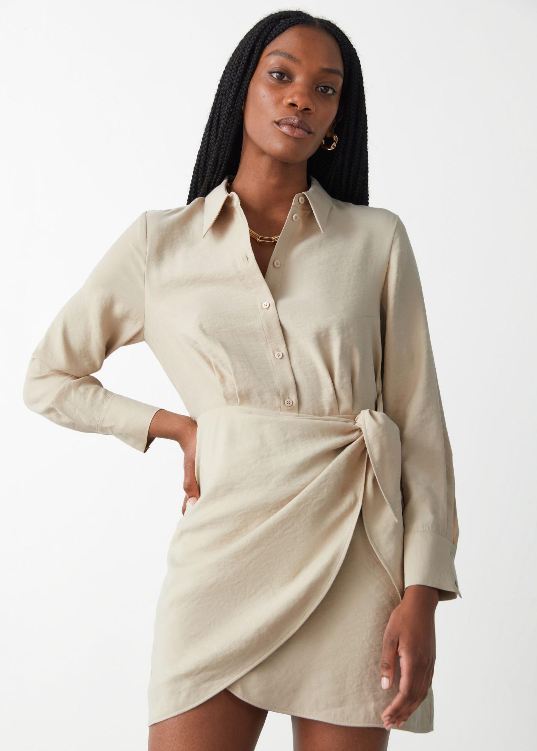 Buttoned Mini Wrap Dress $89