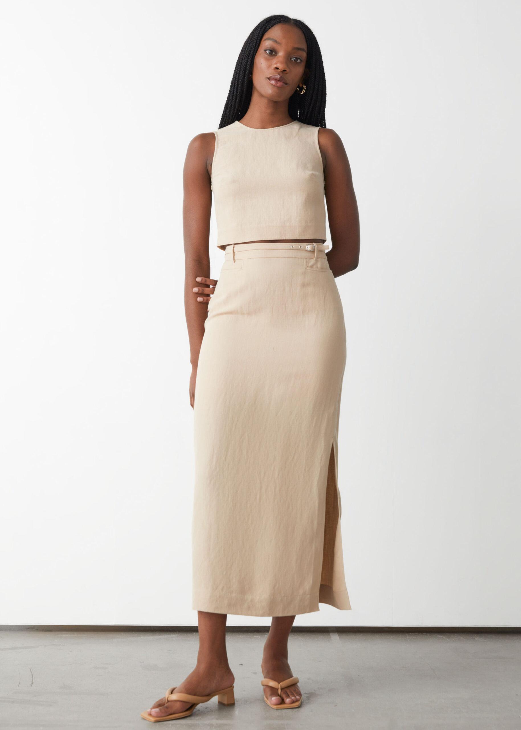 Belted Silk Midi Skirt $99