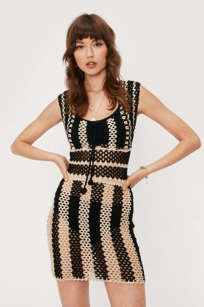 Crochet Striped Lace Up Knitted Mini Dress $24.00