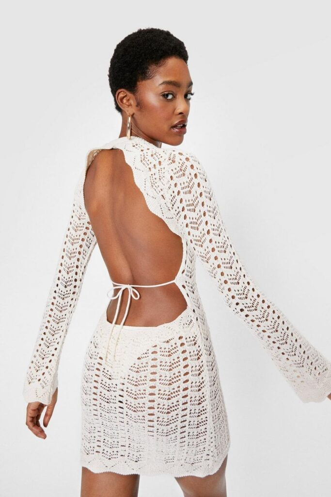 Crochet Knitted Open Back Mini Dress $20.40
