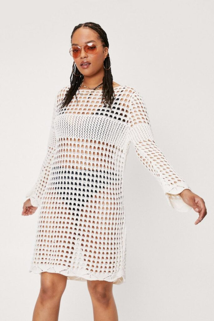 Plus Size Crochet Long Sleeve Mini Dress $19.20