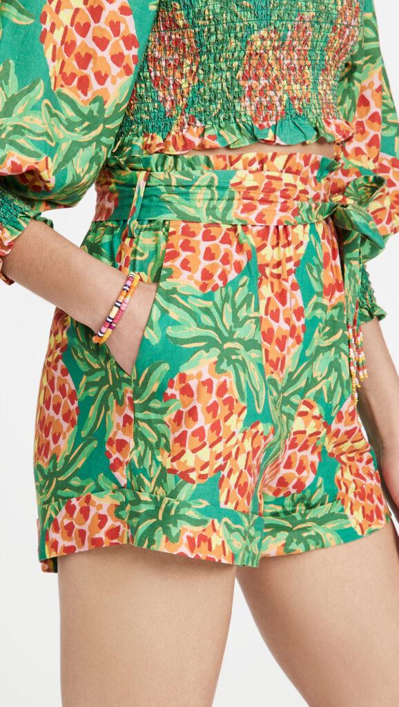 FARM Rio Pineapple Galore Paper Bag Shorts $120.00