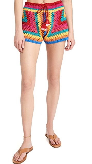 FARM Rio Striped Scarf Crochet Shorts $125.00