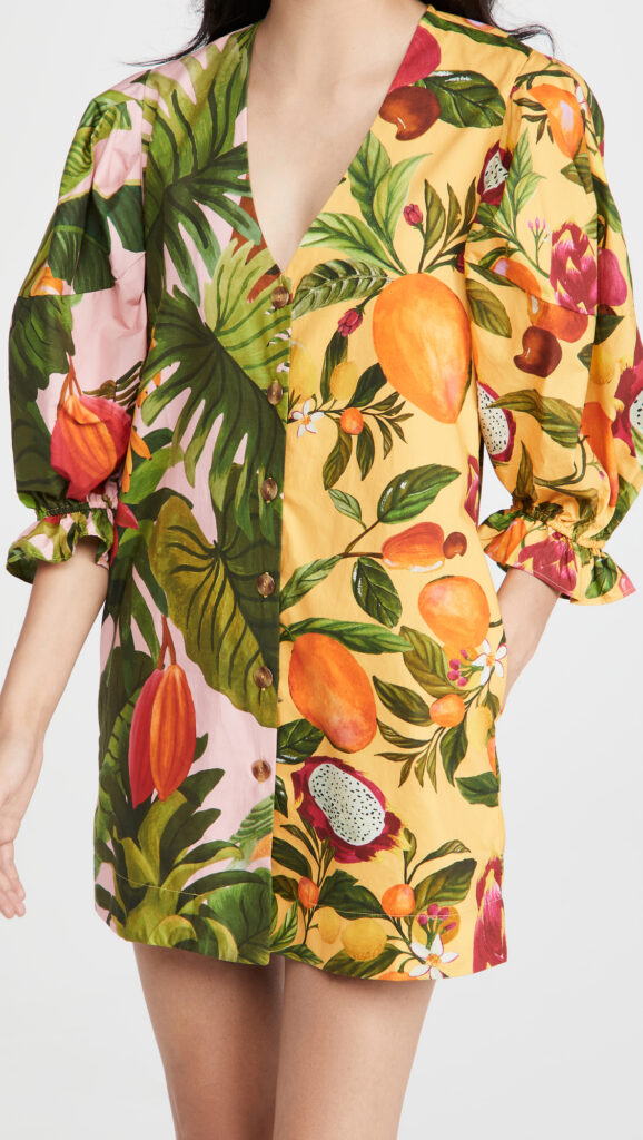 FARM Rio Mixed Prints Puff Sleeves Dress $165.00