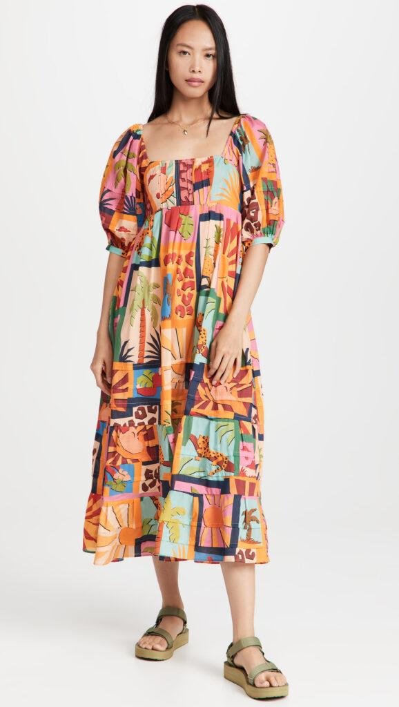 FARM Rio Tropical Collage Midi Dress $225.00