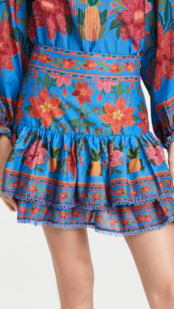 FARM Rio Blue Tropical Tapestry Mini Skirt $135.00