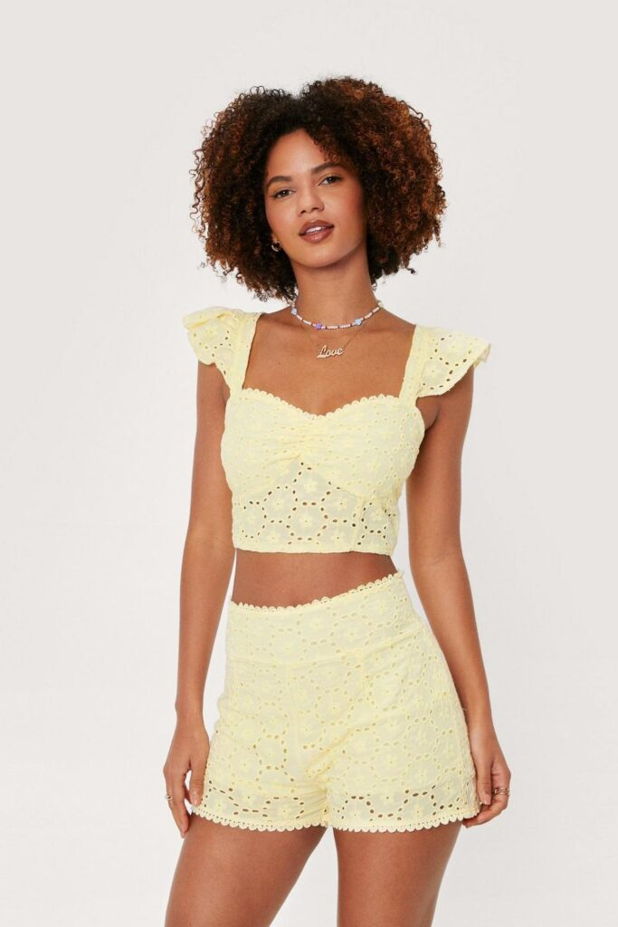 Broderie Anglaise Ruffle Strappy Crop Top $16.65