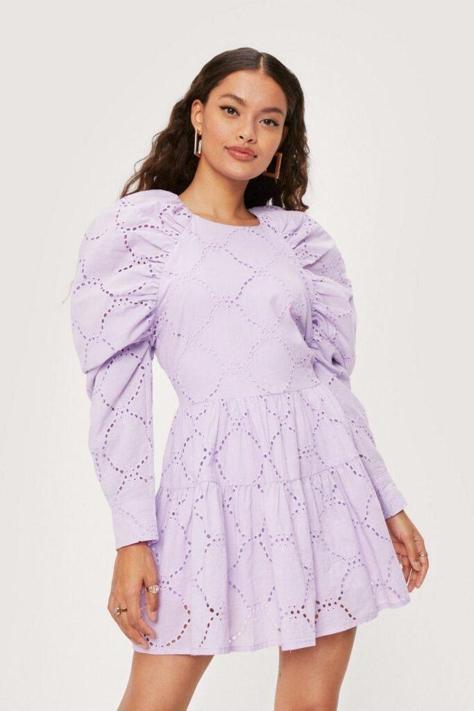 Petite Puff Sleeve Broderie Anglaise Mini Dress $38.25