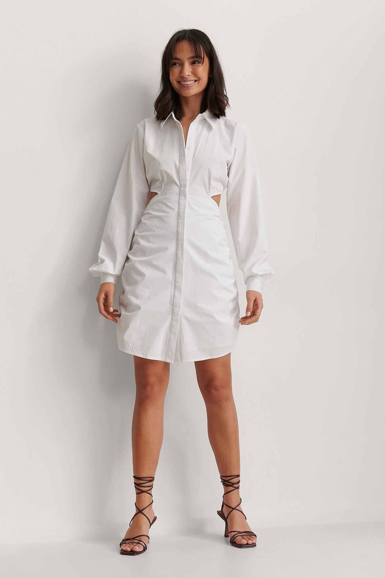 Organic Cut Out Hidden Placket Shirt Dress $59.95