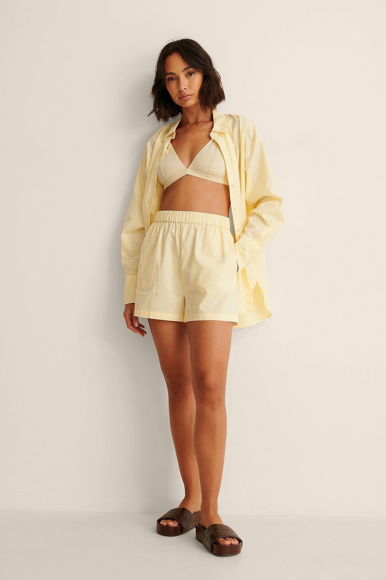 Linen Blend Relaxed Shorts $41.95