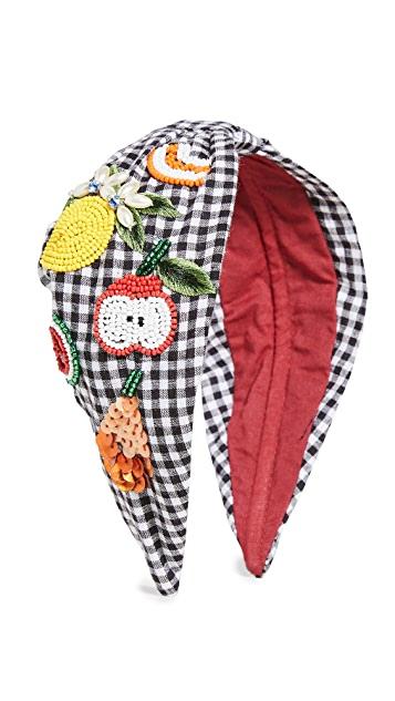 NAMJOSH Gingham Fruit Embellished Headband $50.00