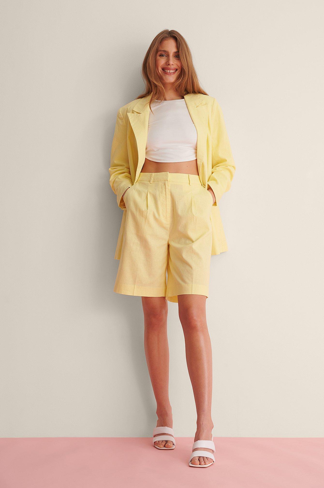 Oversized Linen Blend Shorts $47.95
