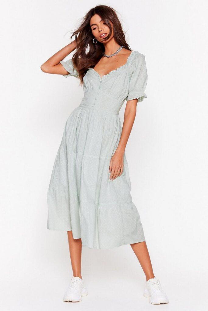 Broderie Anglaise Puff Sleeve Midi Dress $24.30