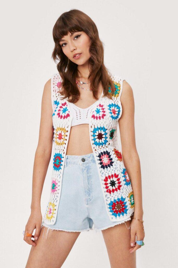 Crochet Pattern Cardigan Tank Top $25.50