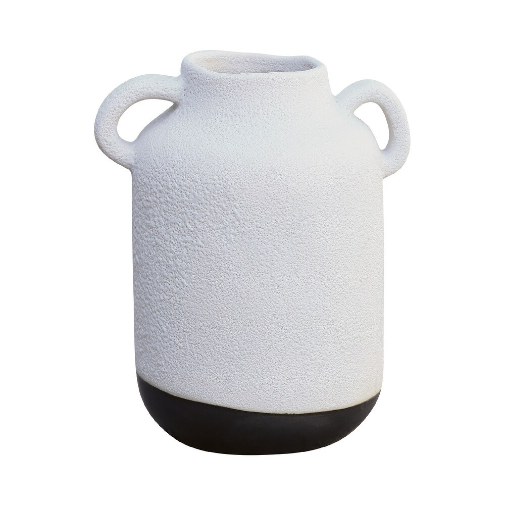 "12\"" White and Matte Metallic Black Earthenware Vase $175.49"