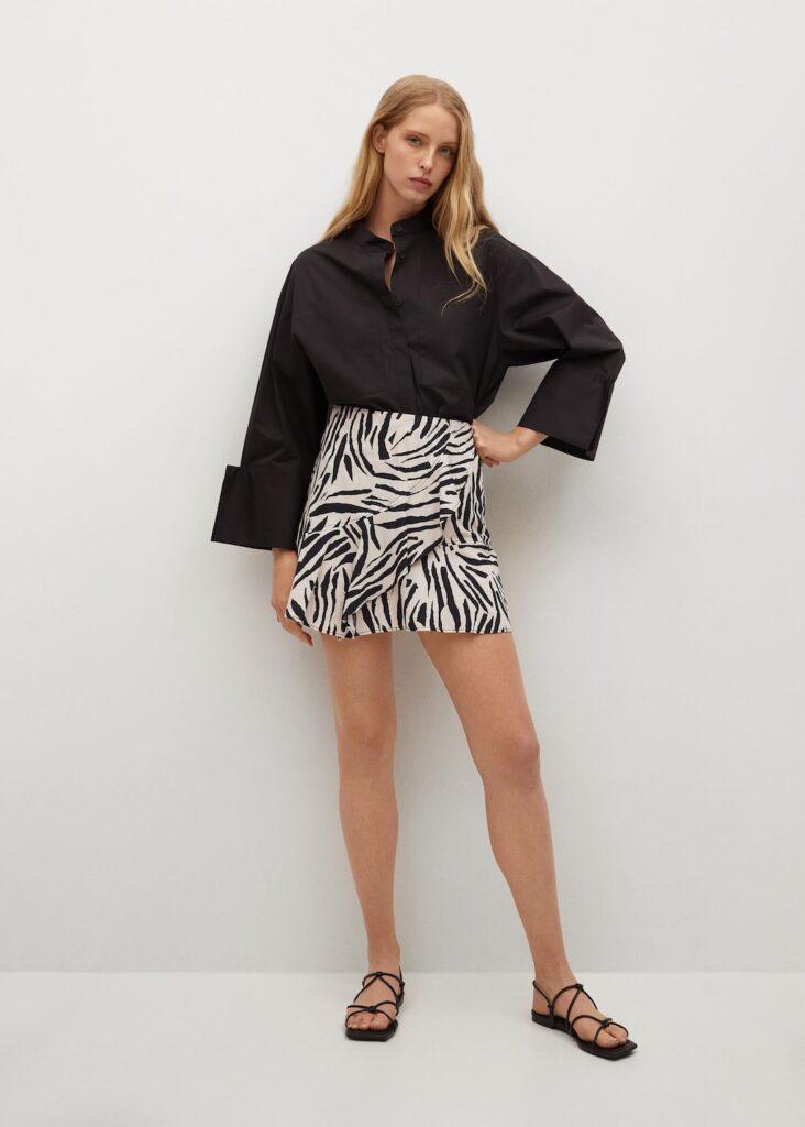 Ruffled printed miniskirt $49.99