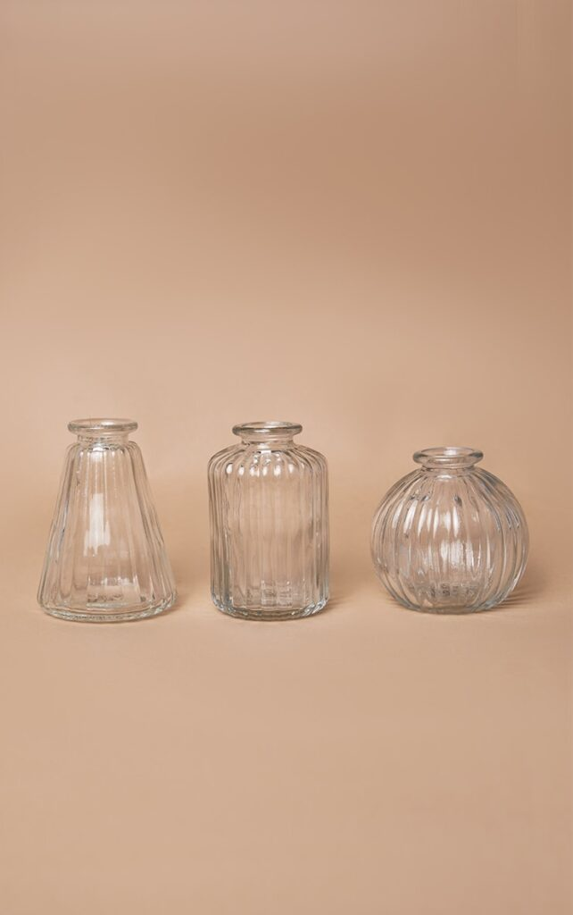 CLEAR GLASS BUD VASES - SET OF 3 $20.00