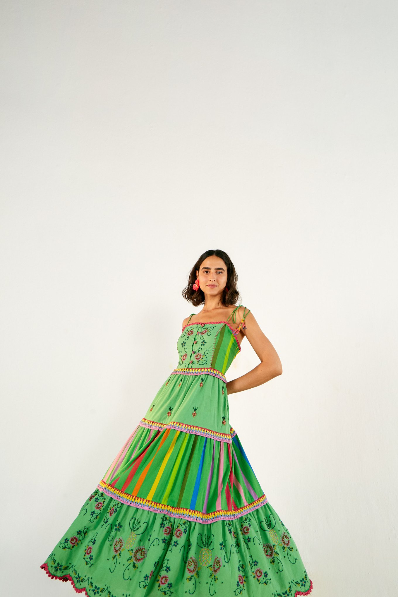 Green Embroidered Tiered Dress $385