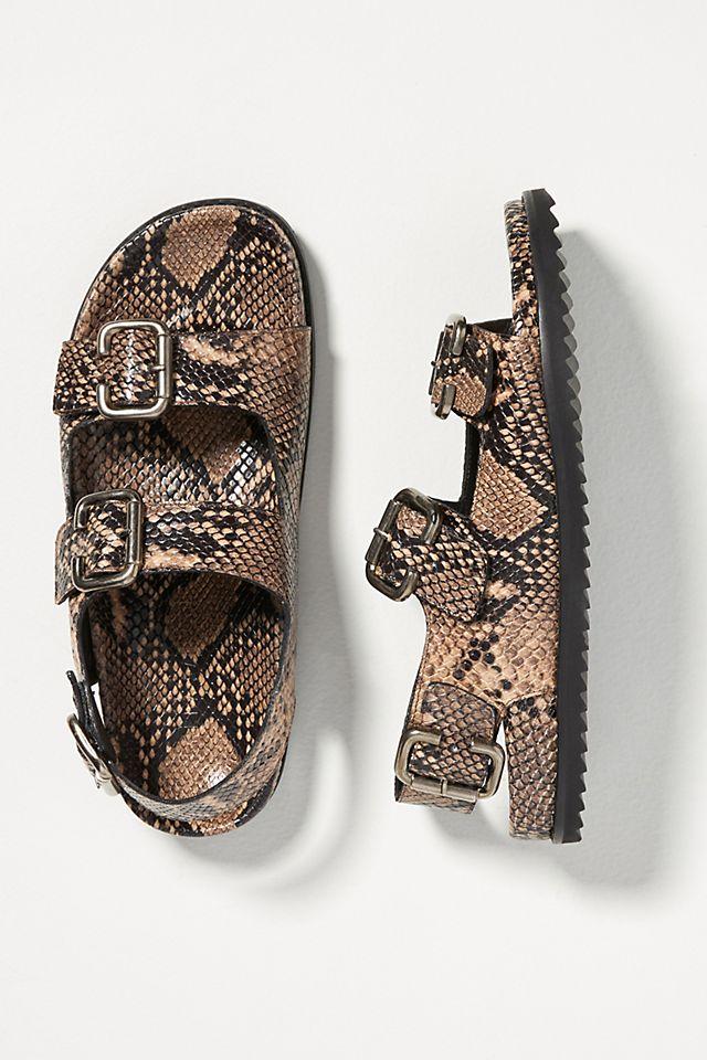 Freda Salvador Snake-Printed Double Buckle Sandals $325.00