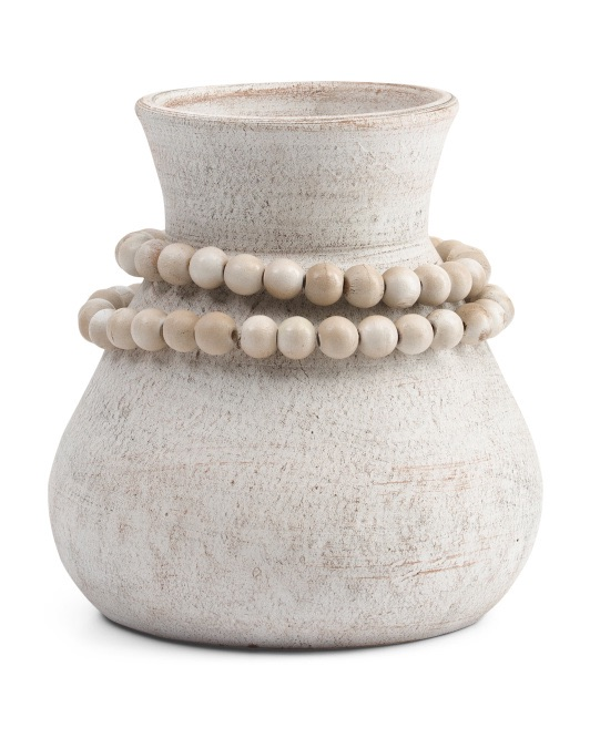 BREWSTER Terracotta Vase With Wooden Beads $39.99