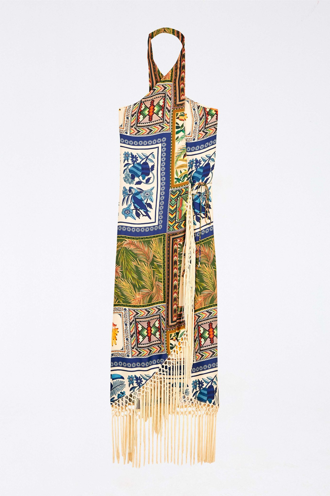 Mixed Scarves Crossed Front Maxi Dress $189