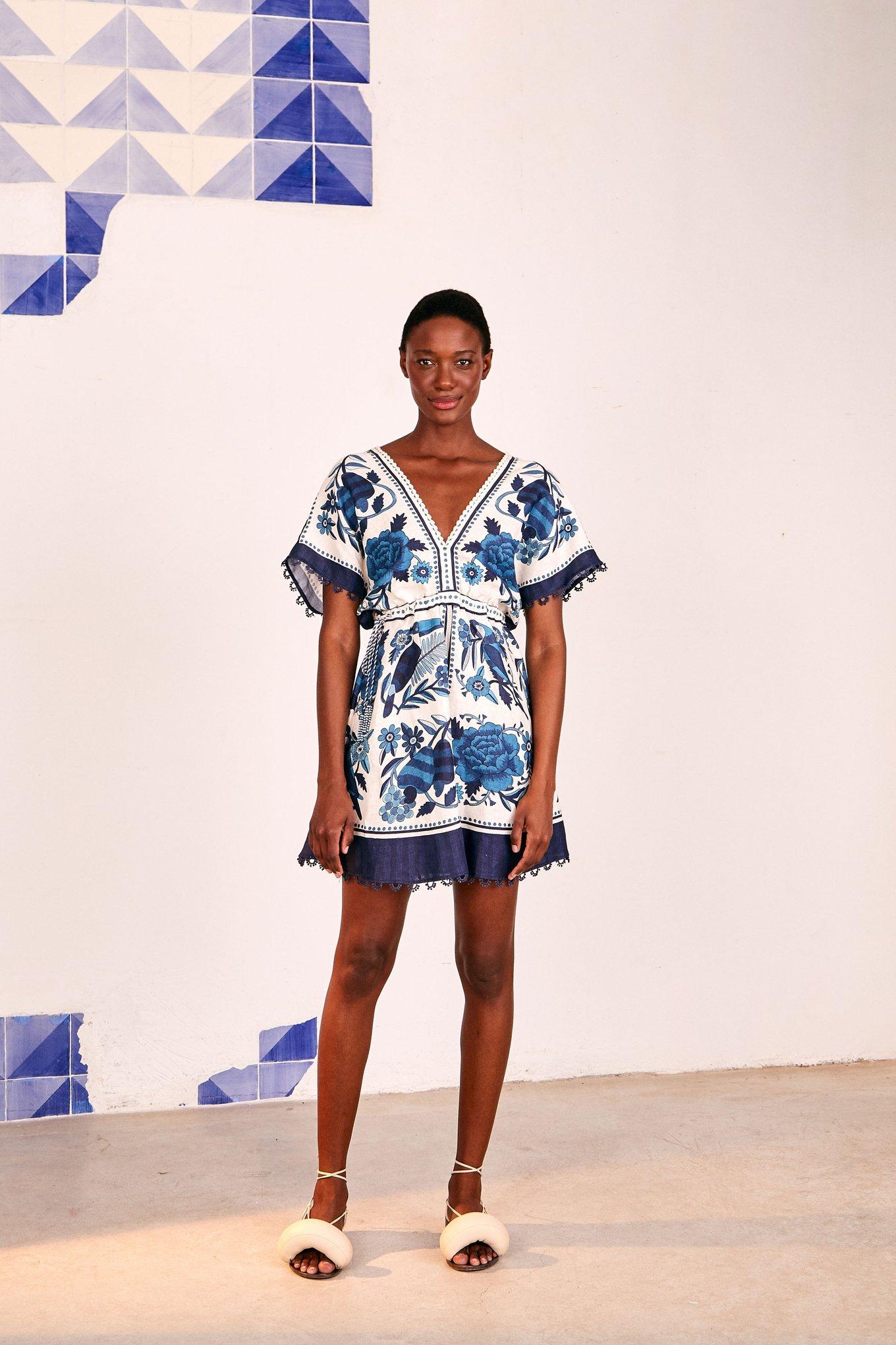 Tropical Tiles Mini Dress $215