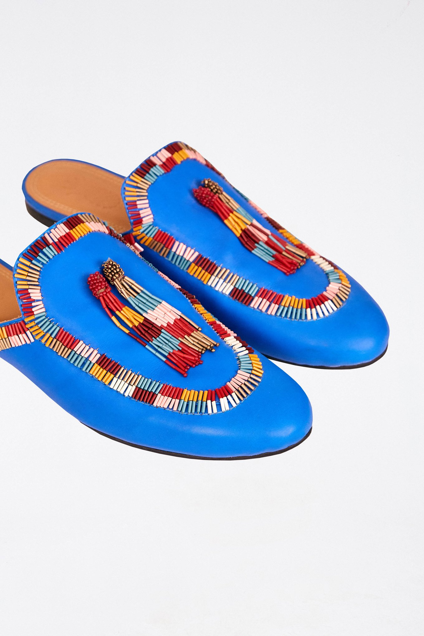 Colorful Bead Blue Mule $175