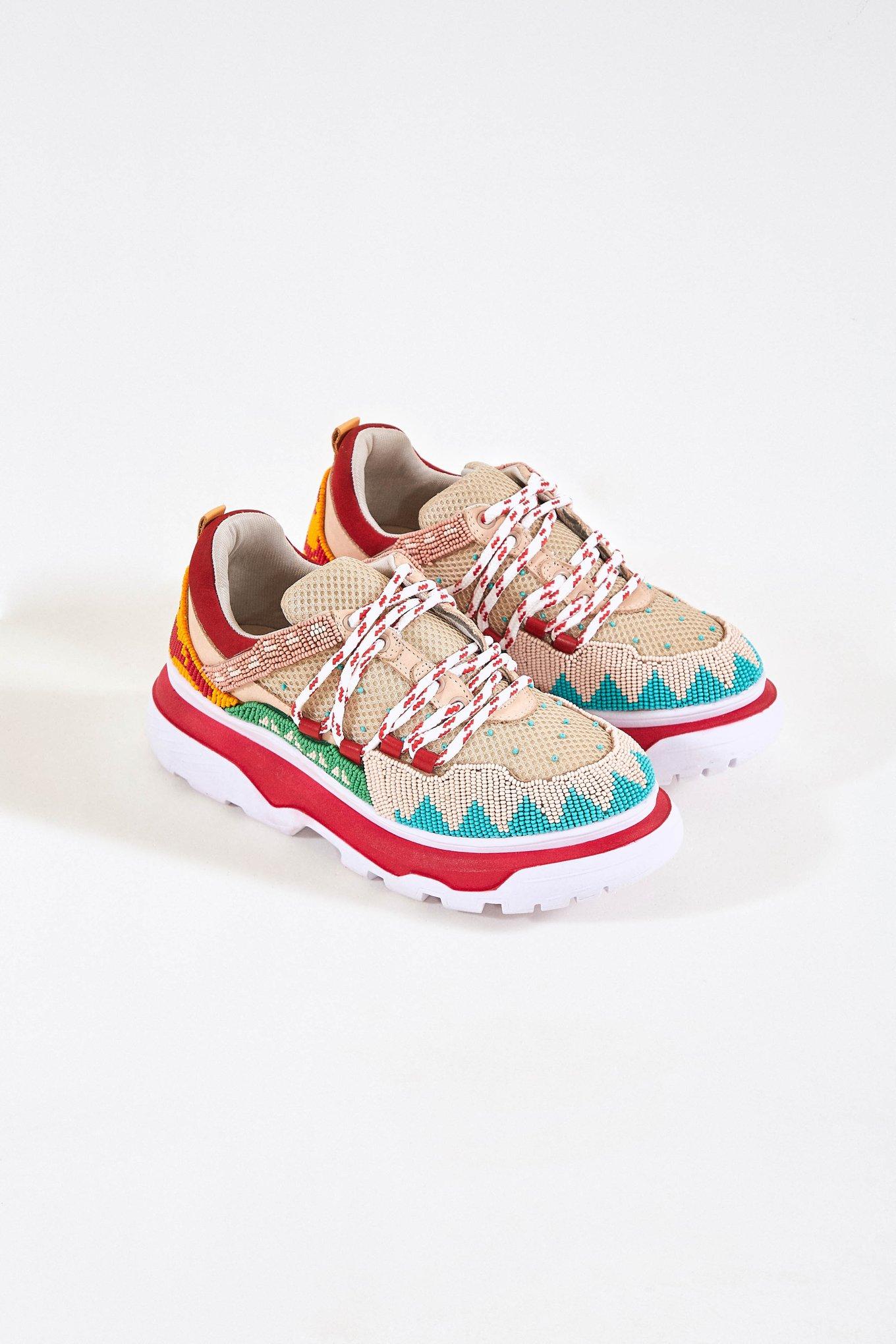 Summer Caramel Beaded Sneakers $185