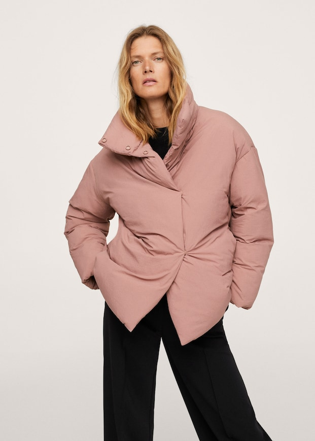 Long collar quilted coat $119.99