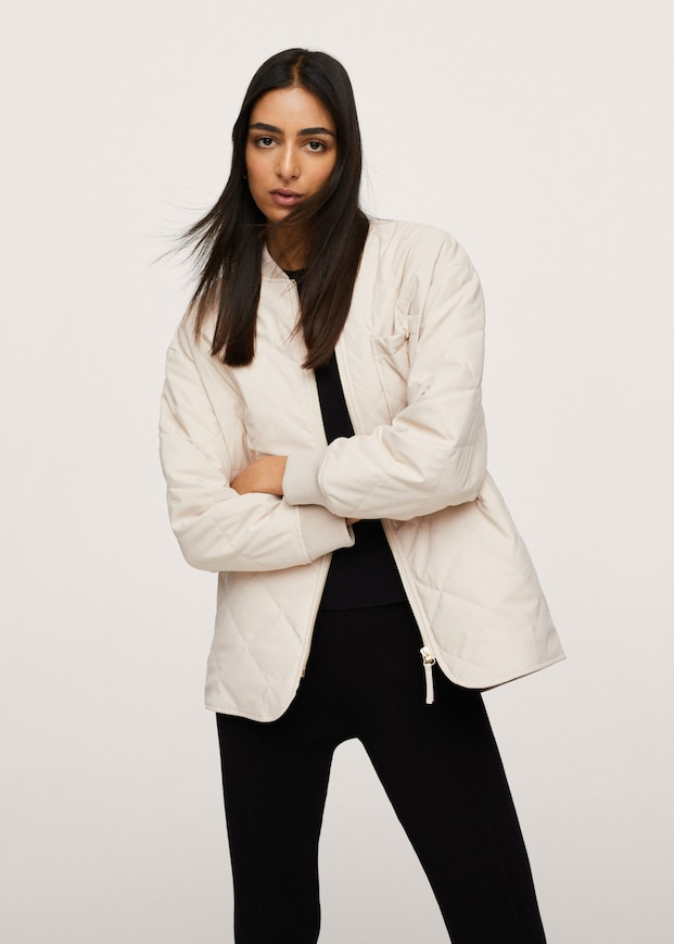 Leather effect quilted jacket $119.99