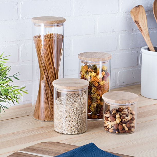 4-Piece Glass Kitchen Canister Set with Bamboo Lids $29.49
