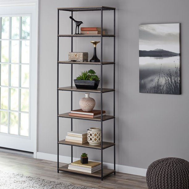 "71"" 6-Shelf Metal Frame Bookcase, Rustic Brown $69.00 https://fave.co/2XnKfu7"