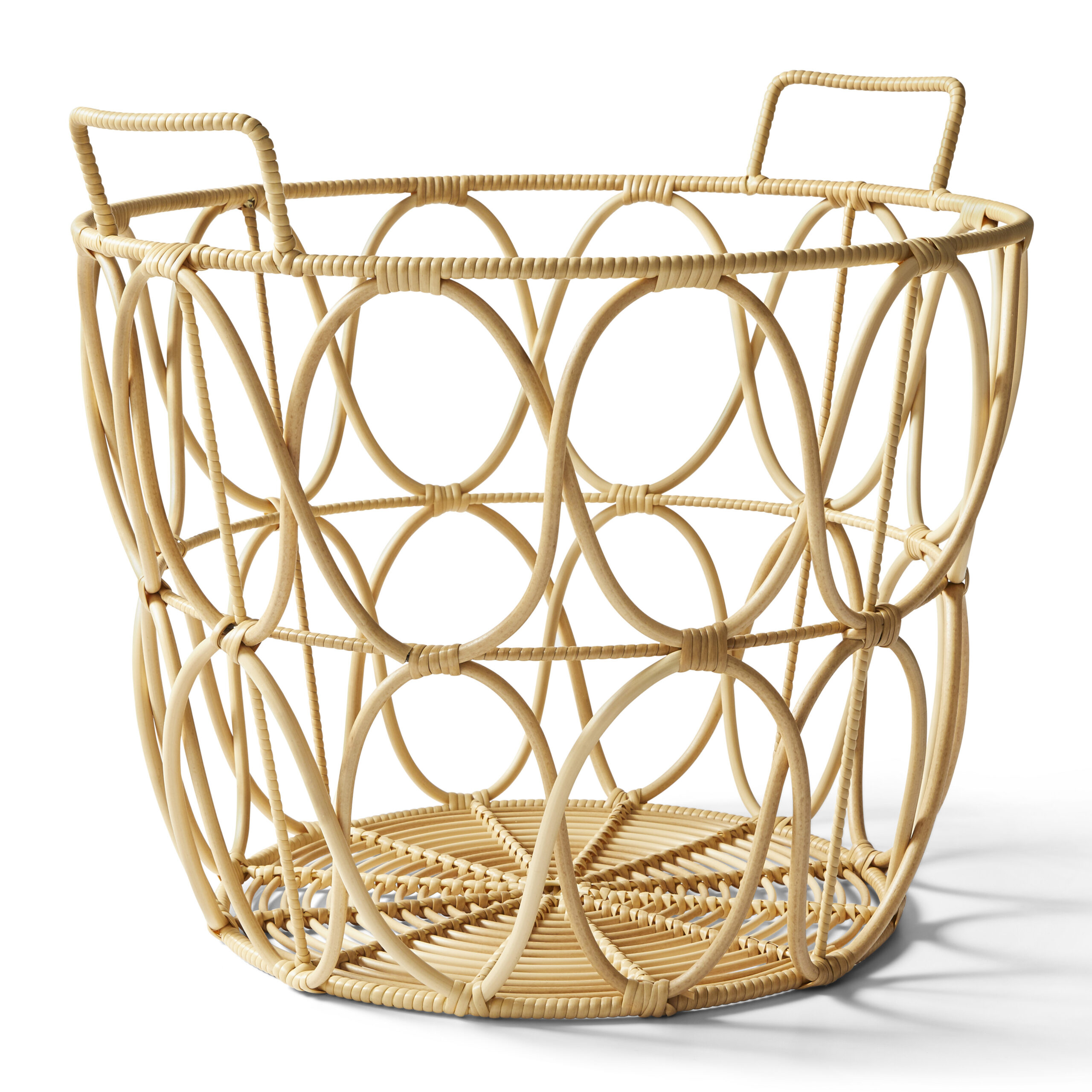 Large Natural Poly Rattan Open Weave Round Basket $24.99